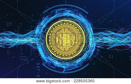 3d Render 3d Illustration Bitcoin Inscribed In A Circle And Around Is Surrounded By High-tech Hologr