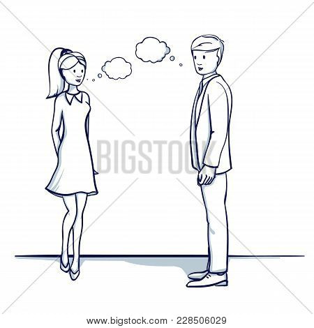 Young Business People: A Man And A Woman Are Talking. Dialogue, Speech. Hand Drawn Doodle Cartoon Ve