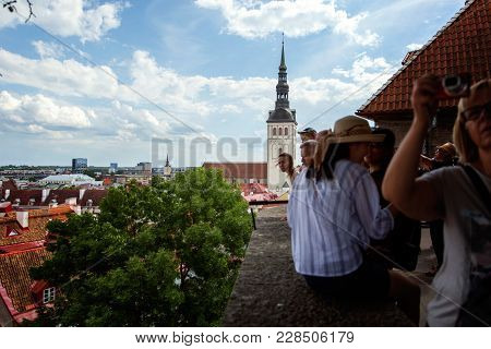 Tallinn, Estonia, July 7, 2016: Aerial View On The Old Town With Main Central Steet In Tallinn, Esto