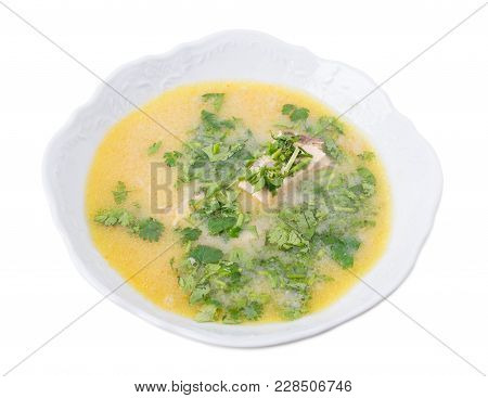 Delicious Georgian Chicken Soup With Yolks And Herbs. Isolated On A White Background.