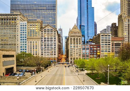 View Of Downton Chicago At The Intersaction Of Michigan Avenue With Monroe Street