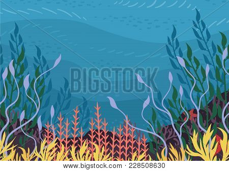 Underwater Nature Background With Plants. Vector Illustration