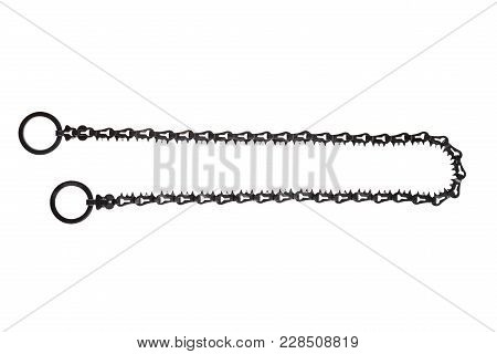 Miniature chain saw from the survival kit. Object is isolated on white background.