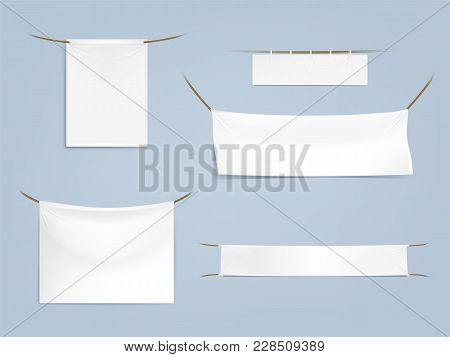 Vector Set Of White Blank Textile Banners With Folds, Horizontal And Vertical, Stretched And Hanging