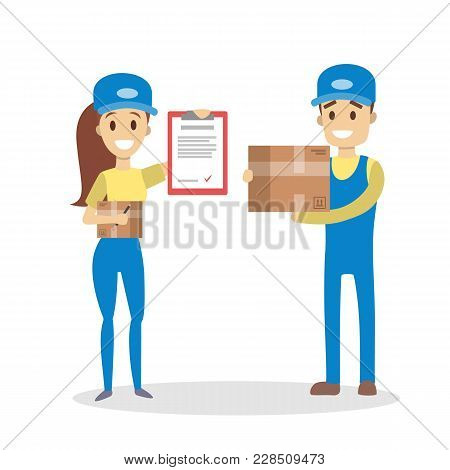 Isolated Delivery Couple With Parcel In Uniform.