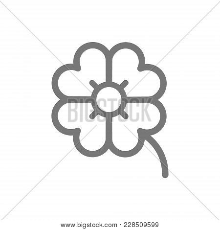 Simple Four Leaf Clover Line Icon. Symbol And Sign Vector Illustration Design. Isolated On White Bac
