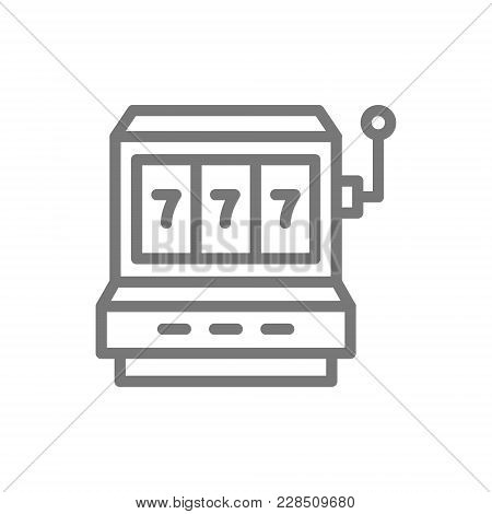 Simple Jackpot Slot Machine Line Icon. Symbol And Sign Vector Illustration Design. Isolated On White