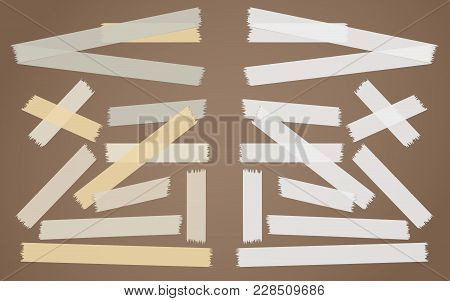 Brown, Gray, White Adhesive, Sticky, Masking, Duct Tape, Paper Strips Pieces For Text On Brown Backg