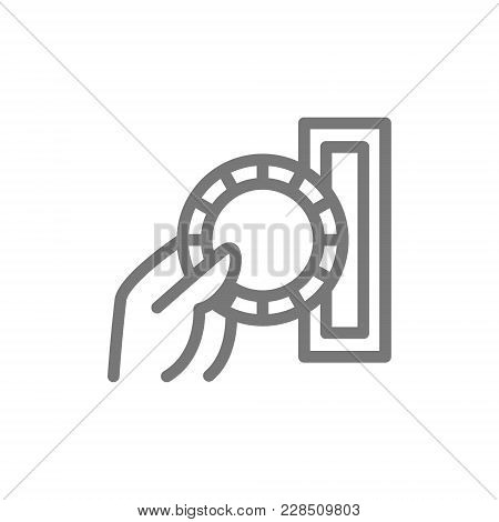 Simple Insert Coin Or Pay Casino Chips Line Icon. Symbol And Sign Vector Illustration Design. Isolat