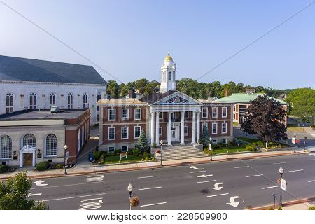 Woburn City Hall Is Served As The Center Of Woburn Government In Downtown Woburn, Massachusetts, Usa
