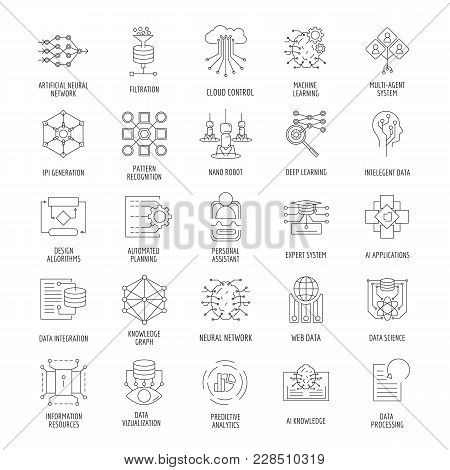 Neural Network Outline Icons Set. Vector Illustration With Neural Networks, Nano Robot, Artificial I