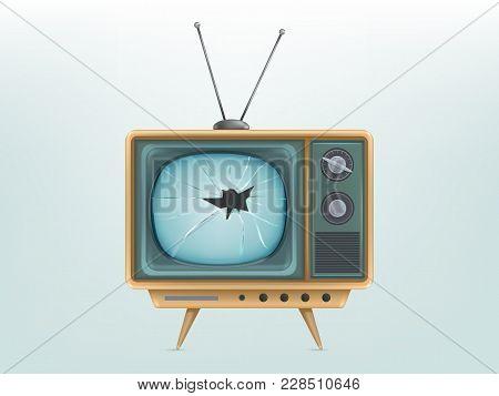 Vector Illustration Of Broken Retro Tv Set, Television. Injured Vintage Electronic Video Display. Co