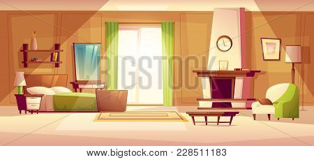 Vector Cartoon Illustration Of Cozy Modern Bedroom, Living Room With Double Bed, Fireplace, Armchair
