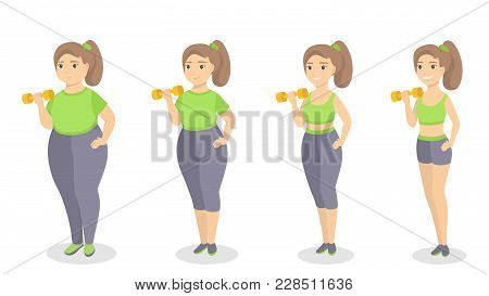 From Fat To Fit. Woman Slimming And Getting Fit.