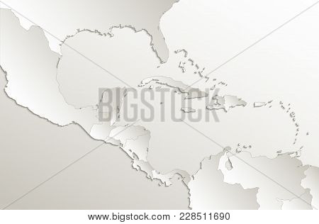 Caribbean Islands Central America Map, Separate States, Card Paper 3d Natural Raster
