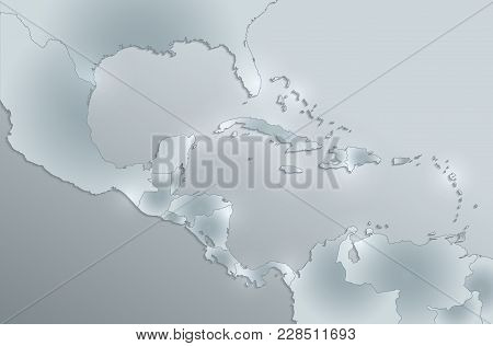 Caribbean Islands, Central America Map,  Separate States, Card  Glass Card Paper 3d Raster Blank