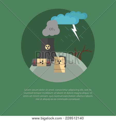 A Vector Illustration Of Polluting Ecology Factory. Ecology Concept. Environmental Pollution Problem