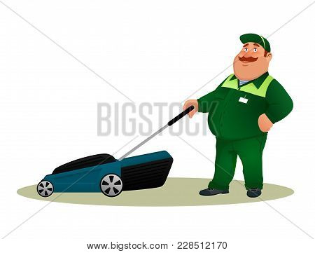 Funny Cartoon Farmer With Lawn Mower. Smiling Fat Character Gardener Man In Green Suit Cutting Grass
