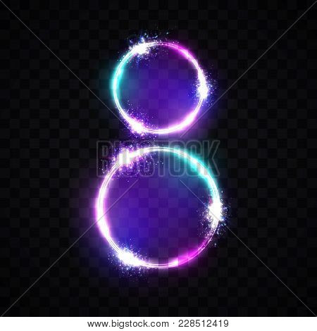 Two Neon Glowing Circles. Bright Banner On Transparent Background. Decoration For International Wome
