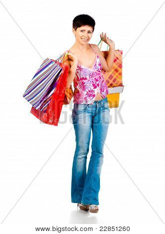 beautiful girl with shoping bsgs