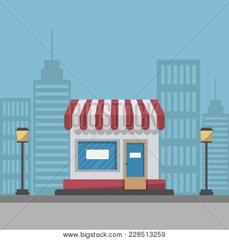 Supermarket Building Concept Vector Illustration. A Large Food Store On Modern City Street Backgroun