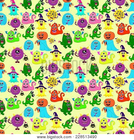 Abstract Halloween Seamless Pattern For Girls Or Boys. Creative Vector Pattern With A Many Bright Mo