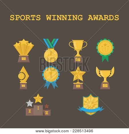Set Of Sports Winning Awards On A Dark Background. Sports Trophies Festival Awards Collection With G
