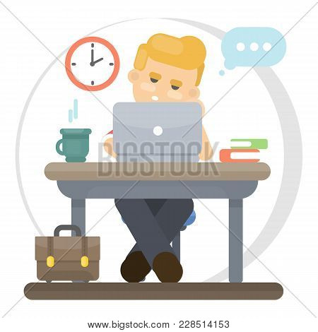 Bored Working Man Sitting At Office With Computer.