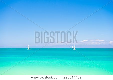 Sea Summer Concept. Beautiful Marine View On Caribbean Sea Coast Line With Clean Wavy Surf Ocean Wat
