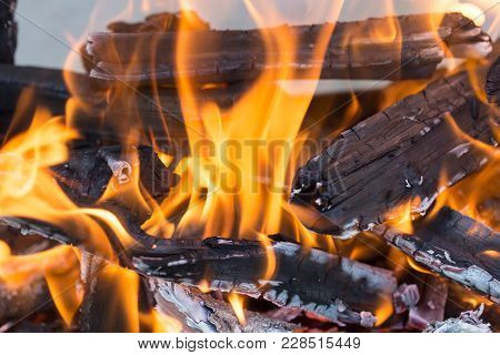 Burning Wood In A Brazier . In The Park In Nature
