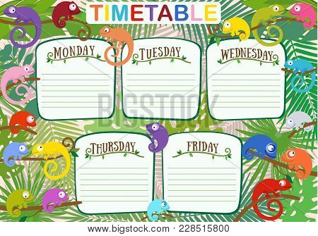 Vector Colorful Design Of School Work Timetable With Color Chameleons Against Background Of Tropical