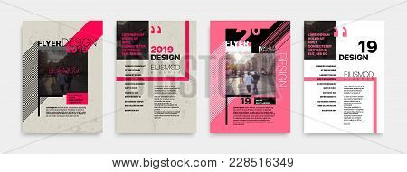 Covers Templates Set With Bauhaus Style Graphic Geometric Elements. Applicable For Flyer, Cover Annu