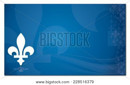 Quebec Province Of Canada Emblem Over Abstract Blue Background