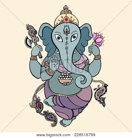 Hindu God Ganesha. Ganapati. Vector Hand Drawn Illustration. Meditation In Lotus Pose