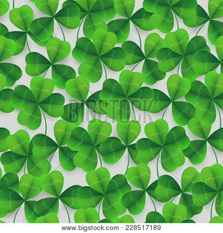 Vector Four-leaf Clover Seamless Pattern Background. Lucky Fower-leafed Green Background For Irish B