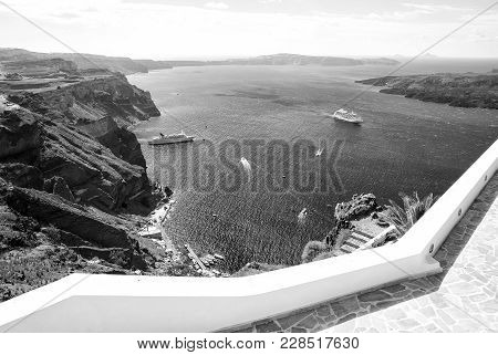 Traveling And Wanderlust. Nature And Environment. Tourist Ship And Water Transport. Panoramic View O