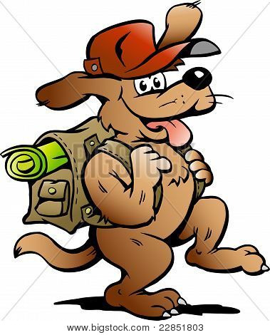 Hand-drawn Vector Illustration Of An Traveling Backpacker Dog