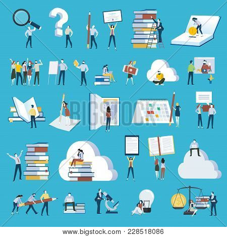 Set Of Flat Design Style People Icons. Vector Illustration Concepts For Education, E-learning, Onlin