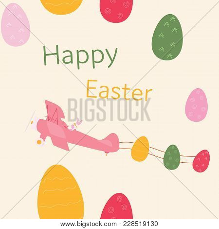Pattern Background. Seamless Easter Pattern Of Rabbit In Airplane With Easter Eggs In Trendy Pastel