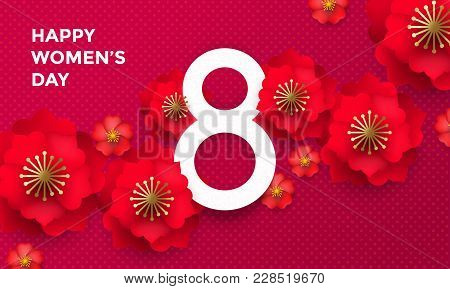Happy International Women's Day 8 March Papercut Illustration Banner Or Card. Vector Womens Day Back