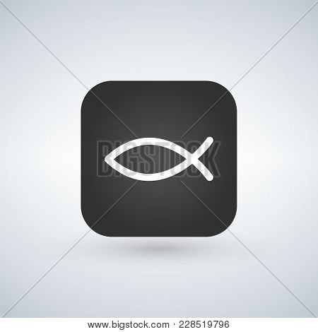 Christian Fish Symbol On App Button, Vector Illustration