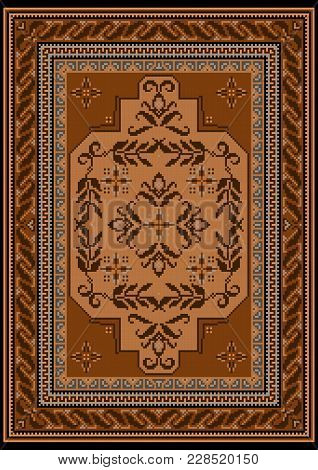 Design Carpet With Ethnic Ornament In Brown And Beige Shades And A Floral Pattern In Yellow And Brow