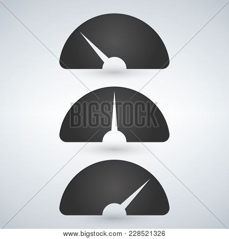 Gauge Level Indicator Icon Set From Low To High. Vector Illustration