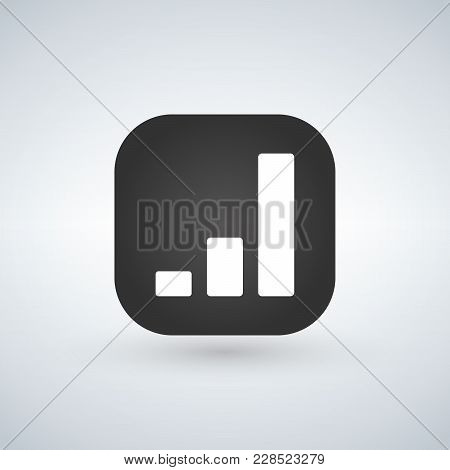 Chart Simple Icon Over Black App Button. Report Graph Or Sales Growth Sign. Analysis And Statistics