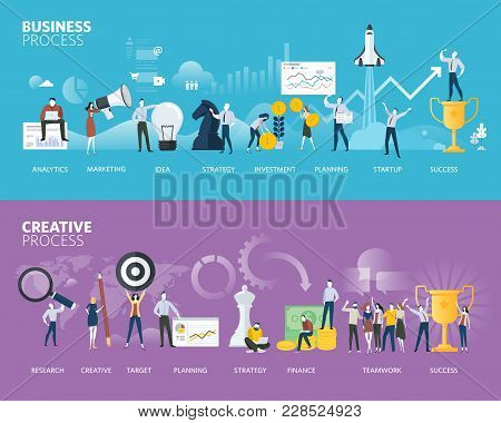 Flat Design Style Web Banners Of Business Process And Creative Process. Vector Illustration Concepts
