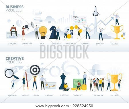 Set Of Flat Design Web Banners Of Business Process And Creative Process, Isolated On White. Vector I