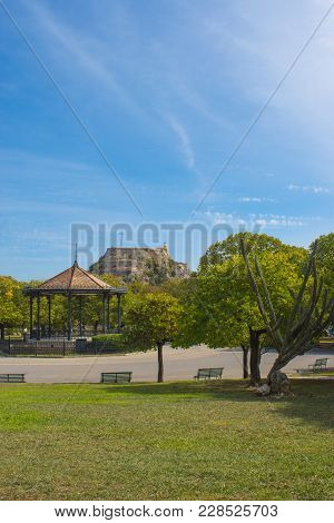Old Fortress Of Corfu Island, Greece. View From Spianada Square