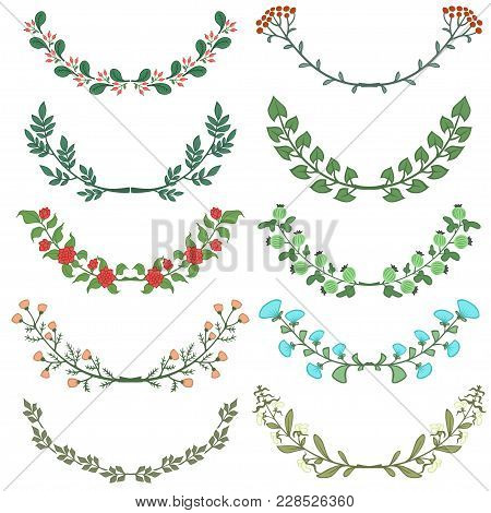 Set Of Dividers In Nature Design. Colorful Floral Branches. Vector Illustration.