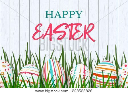 Happy Easter. Easter Colorful Eggs In Row With Different Simple Colorful Ornaments. White Wooden Sca