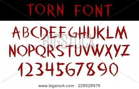 Torn. Hand Written Display Red Font Calligraphy. Abc. Scratched Decorative Colored Vector Alphabet A